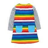 Little Girls Long Sleeve Dress Casual Cute Dinosaur Animal Print Dress for 1-7 Year (4-5Years, Rainbow)