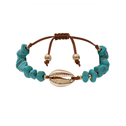 - Sinfu Women's Summer Natural Shell Blue Turquoise Adjustable Beach Bracelet Ladies Jewelry Accessories (B)