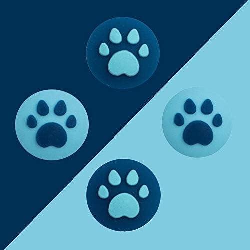 Joy-Con用 ケース 親指キャッ プアナログスティックカバー 保護カバー 猫 肉球 アシストキャップ ジョイスティックカバー 4個セット (色 : ブラック-ブルー)