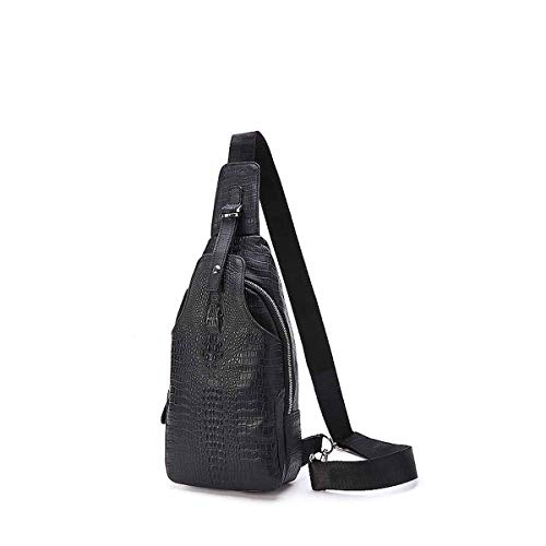9fc608810a9f TUBACKPACK Soft Genuine Leather Crocodile Cross-Body Sling Bag Large  Capacity Chest Casual Backpack Shoulder