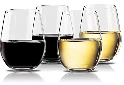 Vivocci Unbreakable Elegant Plastic Stemless Wine Glasses 20 oz | 100% Tritan Heavy Base | Shatterproof Glassware | Ideal For Cocktails & Scotch | Perfect For Homes & Bars | Dishwasher Safe | Set of 4