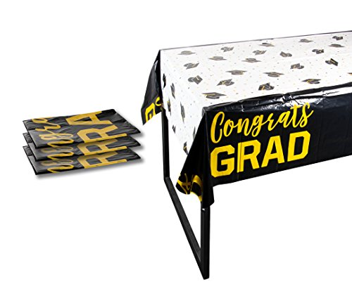 Plastic Table Covers - 3-Pack Congrats Grad Graduation Party Supplies Disposable Plastic Tablecloth, White, Black and Gold, 54 x 108 Inches