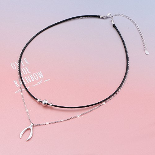 925 Sterling Silver Good Luck Wishbone Bead Charm Choker Necklace Gift for Women by LINLIN FINE JEWELRY (Image #1)