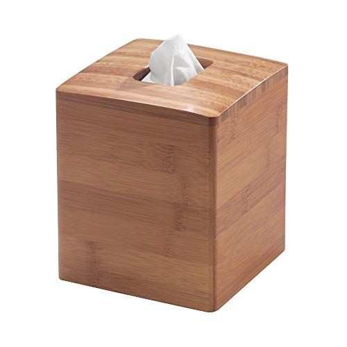 InterDesign Formbu Bamboo Facial Tissue Box Cover, Boutique Container for Bathroom Vanity Countertops, 5.25