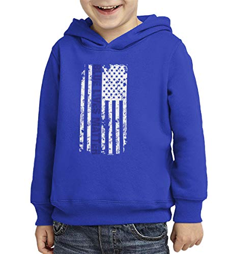 Blue Lives Matter - American Flag Toddler/Youth Fleece Hoodie (Royal Blue, Medium (Youth))