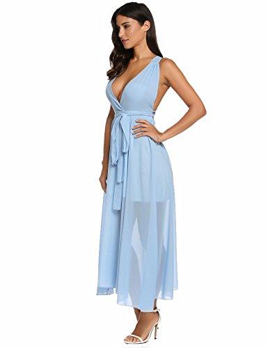Abiti V Vestito Dozenla Vestito Luce Bluexe Vestito Collo Chiffon Profonde Scollato t5tq1xSw