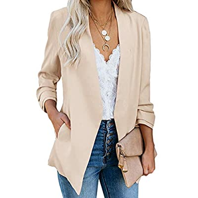 Ofenbuy Womens Casual Blazer Ruched 3/4 Sleeve Open Front Relax Fit Office Lightweight Cardigan Jacket Blazers at Women's Clothing store