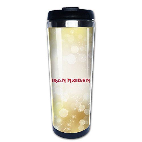 Price comparison product image Beaufiy Iron Maiden Rock Band Logo Stainless Steel Travel Tumbler Coffee Mug Black