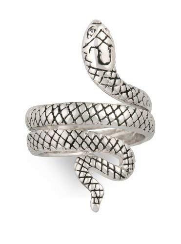 JanKuo Jewelry Rhodium Plated Antique Style Snake Cocktail Ring