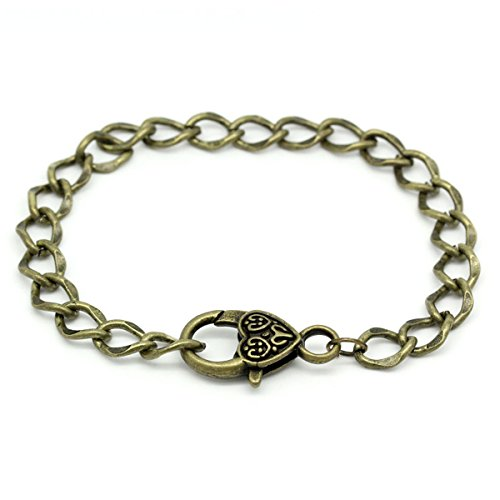 Tone Heart Link - 5 Pcs Bronze Tone Heart Lobster Clasp Link Chain Bracelets for DIY Bracelet Jewelry Making
