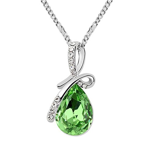 Gold Plated Small Size Swarovski Crystal Elements Eternal Love Teardrop Pendant Necklace Fashion Jewelry for Women (Green) (Swarovski Necklace Jade)