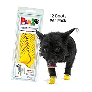 Pawz Dog Boots | Dog Paw Protection with Dog Rubber Booties | Dog Booties for Winter, Rain and Pavement Heat | Waterproof Dog Shoes for Clean Paws | Paw Friction for Dogs | Dog Shoes (Black) 1