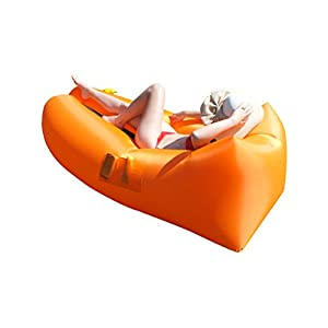 Woo Woo 2.0 Inflatable Lounger- Premium Air Mattress Sofa Bed- For Indoors & Outdoors-Camping,Hiking,Traveling,Park,Beach-Easy To Inflate- Puncture Resistant & Lightweight Air Couch (Orange)