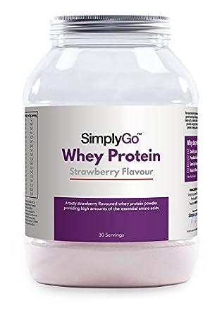 SimplyGo Proteína de suero de leche - Deliciosos sabor Fresa, chocolate, plátano o vainilla - Indicado para el crecimiento muscular - SimplySupplements ...