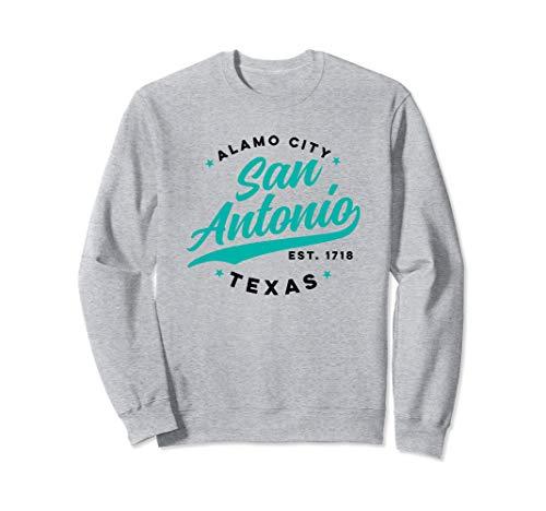 Vintage San Antonio Alamo City Texas Teal Text  Sweatshirt (Distance From San Antonio Texas To Dallas Texas)