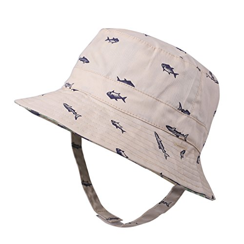 (Toddler Sun Hat Reversible UV Protection Kids Cotton Bucket Hat with Chin Strap Fish Prints Summer Play Bucket Cap (2.5-4 Years,)