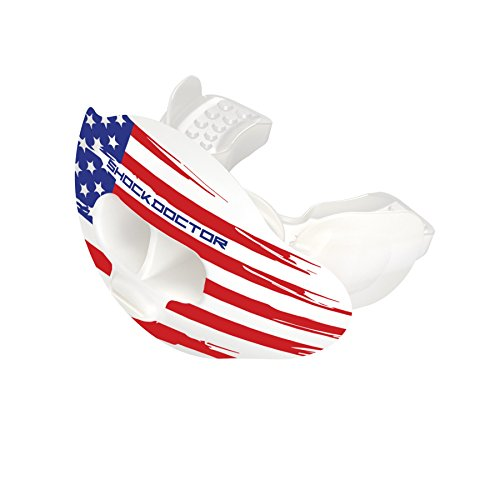 Shock Doctor 3300 Max Airflow Lip Guard Mouthguard With Tether, Trans White/US Flag, Youth