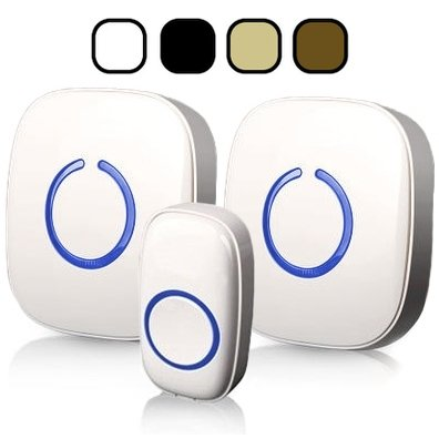SadoTech Wireless Doorbell with 2 Buttons (CX) or 2 Plugin Receivers (CXR) Operating at over 500-feet Range with Over 50 Chimes, No Batteries Required for Receivers, (Colors: White or Black)