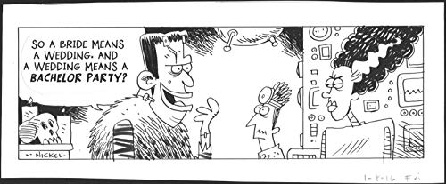 (Eek! Scott Nickel SIGNED Original Ink Daily Comic Strip Art Wedding 2016)