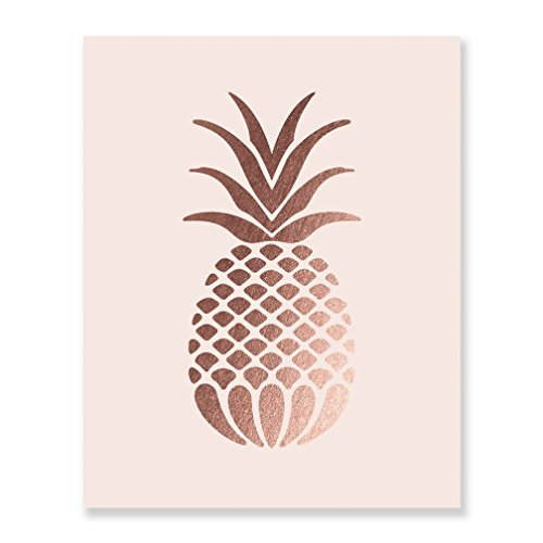 (Pineapple Rose Gold Foil Pink Paper Art Print Small Poster Tropical Chic Rose Metallic Pink Poster Modern Wall Art Gold Decor 8 inches x 10 inches B18)