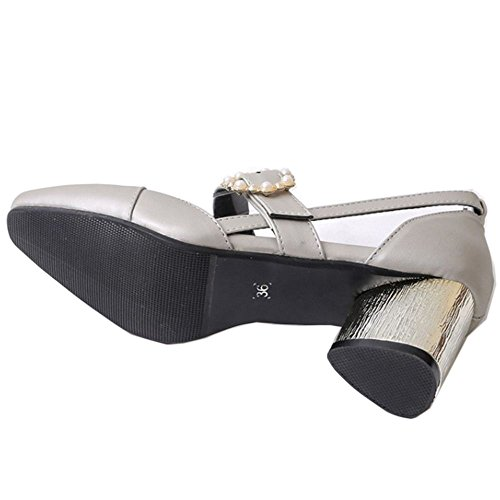 COOLCEPT Zapato Mujer Moda Al Tobillo Dedo Del Pie Cerrado D'orsay Tacon Ancho medio Sandalias Plata
