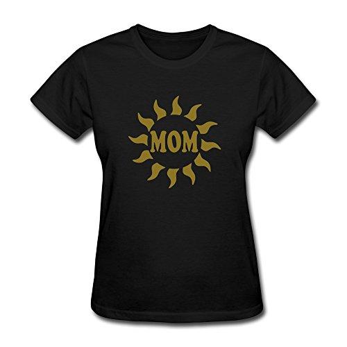 Vansty Mom Sun Round Neck T-shirt For Lady Black Size XXL ()