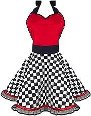 Zofans Women Apron Cute Retro Ruffle Cooking Kitchen Vintage Aprons Dress Adjustable Bib Aprons