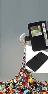 LECELL--Cuero de la tarjeta la carpeta del tirón Smartphone Slots Protección Holder For Sony Xperia Z2 D6502 -- Vómito Cráneo del arco iris --