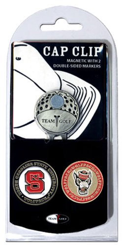 Carolina State Clip North - Team Golf NCAA NC State Wolfpack Golf Cap Clip with 2 Removable Double-Sided Enamel Magnetic Ball Markers, Attaches Easily to Hats