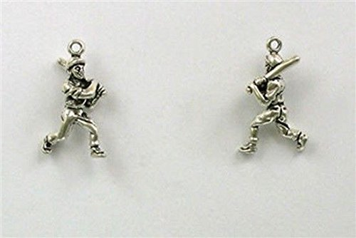 (Sterling Silver 3-D Baseball Player Charm Jewelry Making Supply, Pendant, Charms, Bracelet, DIY Crafting by Wholesale Charms)