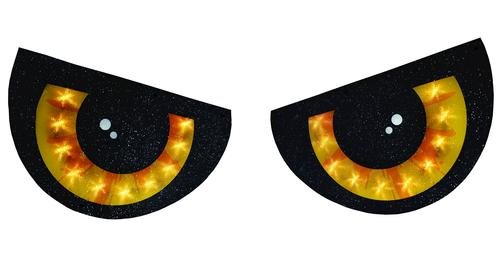 LIGHTED 2 PIECE EYE SET HALLOWEEN DECORATION YELLOW EYES WINDOW LIGHTS INDOOR OUTDOOR HANGING WITH SUCTION CUPS -
