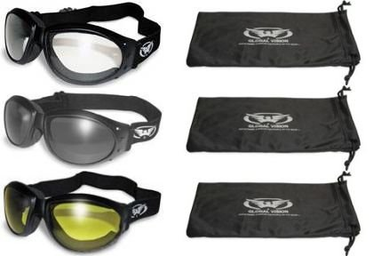 3 Burning Man Padded Motorcycle Goggles Clear Smoke Yellow