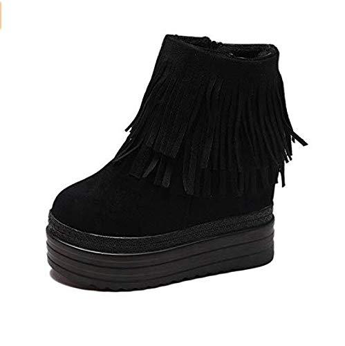 Qiusa Hohe Absätze Die erhöhten kurzen Stiefel im Inneren erhöhten die dicken unteren Keilabsatzschuhe mit den Absatzschuhen mit super hohem Absatz Waren dünn (Farbe   schwarz Tassel Größe   36)