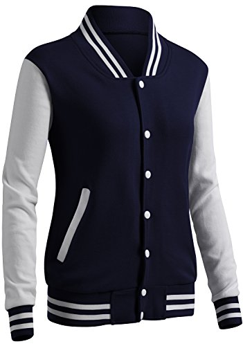 (CLOVERY Women's Baseball Style Long Sleeve Jacket Navy M)