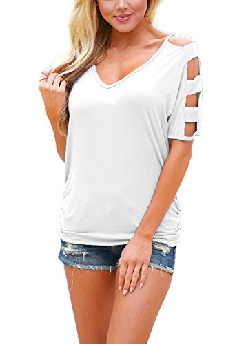 DREAGAL+Women%27s+Cut+Out+Cold+Shoulder+Short+Sleeve+T+Shirt+Casual+Tops+White+X-large