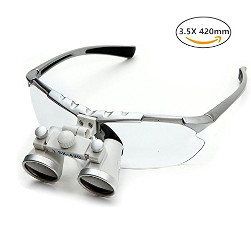 Dentist Dental Surgical Medical Binocular Loupes 3.5X 420mm Optical Glass Loupe with Black Carry Bag(Silver)