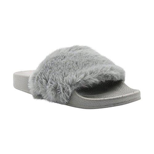 Lusthave Open Toe Slide On Slip On Sandali Moda Pelliccia Sandali Infradito Grigio