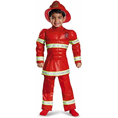 Red Fireman Toddler Muscle Halloween Costume, boys 2T -