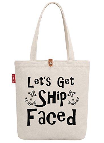 So'each Women's Let's Get Ship Faced Graphic Top Handle Canvas Tote Shoulder Bag