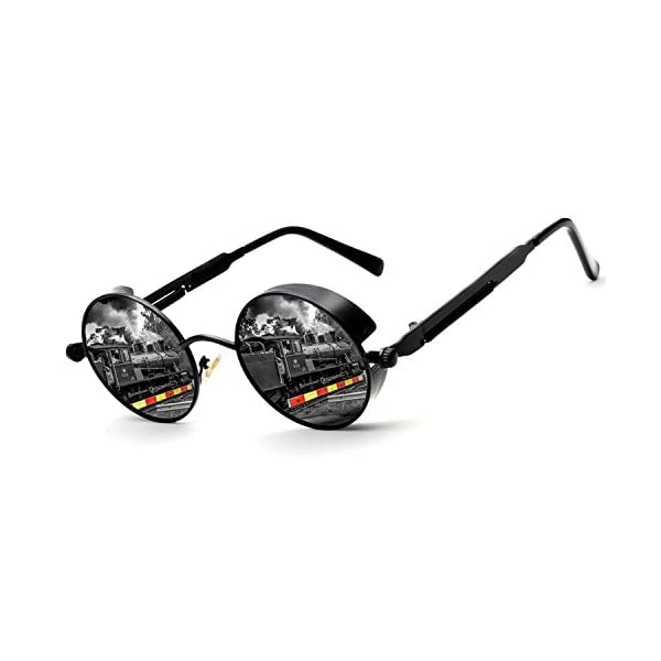 ZUVGEES Polarized Steampunk Round Sunglasses for Men Women Mirrored Lens Metal Frame S2671 3