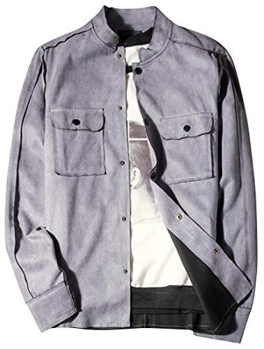 Fubotevic Mens Trim-Fit Pockets Mandarin Collar Casual Suede Fabric Single Breasted Jacket Coat Outwear Dark Grey M