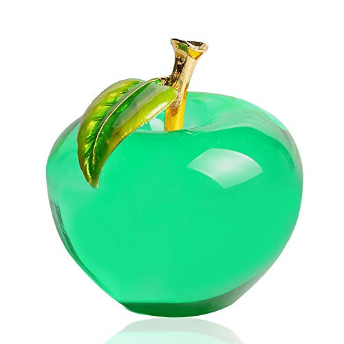 (Qianruna Crystal Glass Apple Paperweight,Creative Christmas Eve Peace Gift,Gifts for Mom and Teacher (Green))
