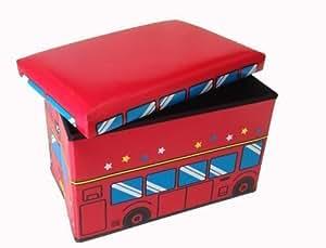 GMMH - Caja de almacenaje plegable para juguetes (convertible en taburete), diseño de autobús