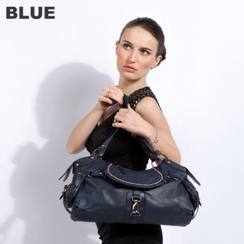 BACCINI borsa grande GISELE - borsa a mano grande - borsa da donna vera pelle bianco (47 x 24 x 11 cm) nero