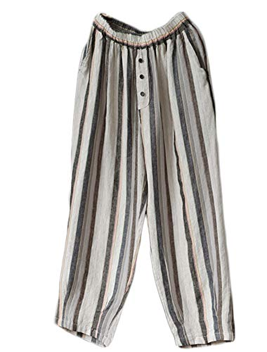 LaovanIn Women's Striped Wide-Leg Cropped Pants Linen Capri Harem Casual Trousers Large Gray ()