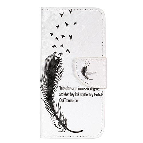 Samsung Galaxy S8 Plus Funda Cáscara de Cuero Sintético(con Gratis Pantalla Protector),KaseHom Prima Flip Libro Estilo Cartera Case Interior Azul y Rojo Dura TPU Silicona Bumper Ranuras para tarjetas  Plumas de Aves, Frase