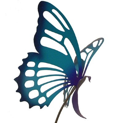 Large Metal Butterfly Garden Sculpture/Stake - Purple/Blue