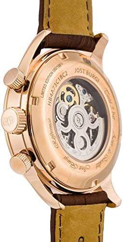 Orologio automatico Jost Burgi da uomo, 42 mm, quadrante nero, cinturino in pelle marrone, HB4A73C1BC2