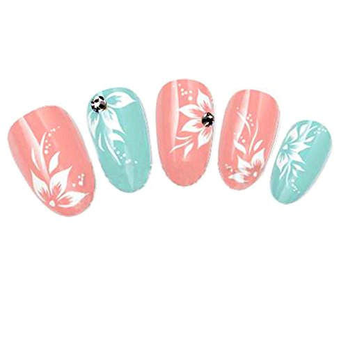 Nicedeco Beautiful & Fun & Colorful & Fashion Nail Tattoo Stickers Nail Decal Water Transfer Decals White Floral Hibiscus Flower (Gem Nail Sticker)