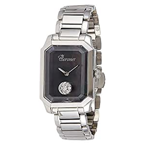 Coronet Diamond Thea Series Ss Women's Black Dial Stainless Steel Band Watch - WCSC8438DSSB